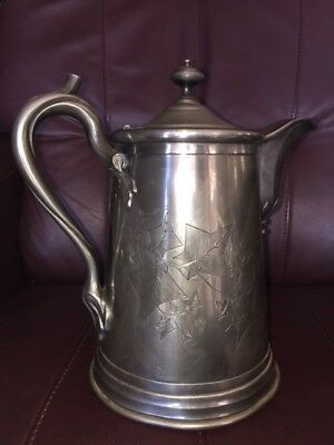 Antique Reed and Barton Silverplate Water Pitcher Seemless Lining Leaf Engraved