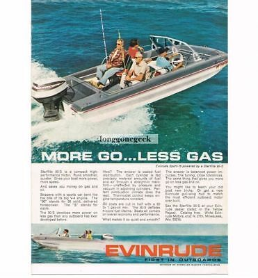 1964 Evinrude Starflite 90-S Outboard Boat Motor More Go Less Gas Vtg Print Ad