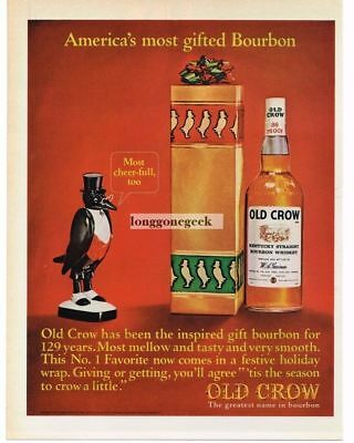 1964 OLD CROW Kentucky Bourbon Whisky Christmas Gift Vtg Print Ad
