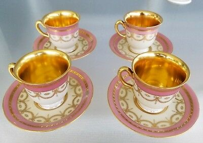 4 Black Knight Demitasse Gorgeous Tea Cup And Saucer Sets Pink Gold Swag Ornate