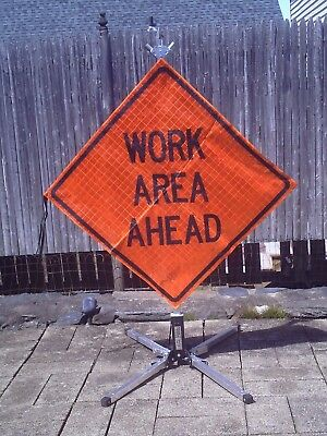 "Work Area Ahead Fluorescent Vinyl Folding Sign and Stand 36""x36"" Lighty Used !!"