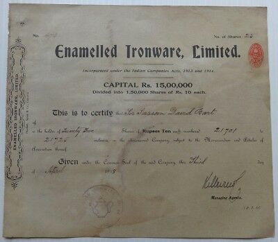 India ENAMELLED IRONWARE LTD 1918 share certificate to Sir David Sassoon Bart