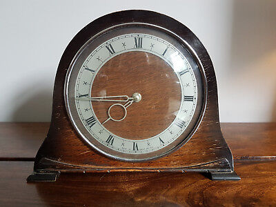 Vintage Napoleon Style Mantel Clock with Roman Numeral Dial & Art Deco Hands