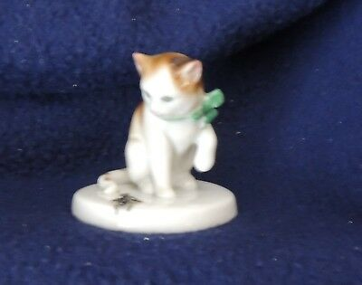 """Goebel Porcelain Cat with Spider - 2"""" High - Mint Condition - Precious"""
