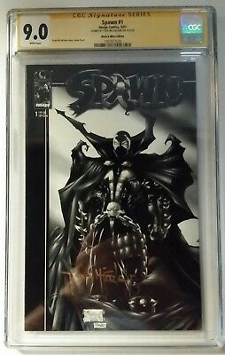 Spawn 1 Black And White Variant Cgc Ss Signed By Todd Mcfarlane