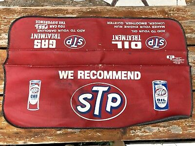 Vtg STP Oil Treatment Fender Cover Guard Red Mechanic Auto Service Protector Mat