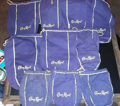 Huge lot of CROWN ROYAL Purple Felt Bags; Gold Trim & Drawstring