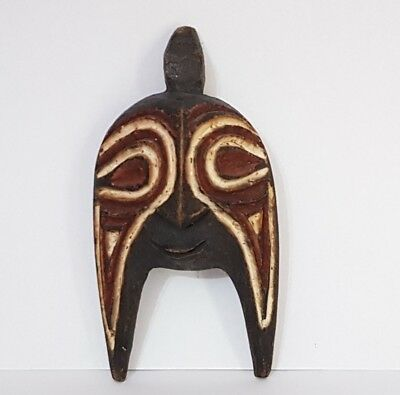 Antique African Tribal Hand Carved Wood Polychrome Mask. Senufo People?