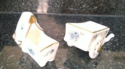 Vintage Coalport Porcelain Bone China Wheel Barrow and Baby Crib Ornaments