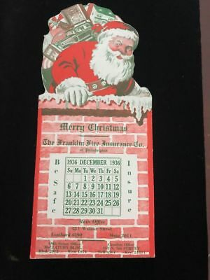 1936 Advertising Blotter Franklin Fire Insurance Co  Santa Claus