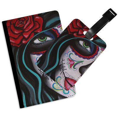 Gothic Girl Rose Rd Flip Passport Cover Luggage Tag Holder Travel Accessory Set