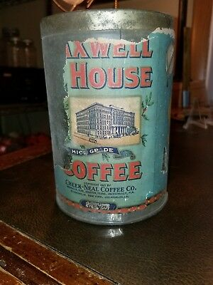 Vintage 1921 Paper Label Maxwell House Coffee Tin