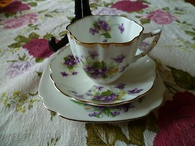 Vintage Mix & Match China Trio Victoria Violet Tea Cup Saucer Unmarked Plate