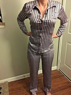 3ea9f4efd3 VICTORIA SECRET Afterhours satin pajama set pj XS pink grey stripe pants