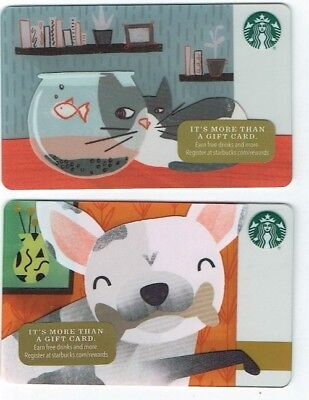 STARBUCKS Gift Card LOT of 2- CAT & FISH BOWL/DOG & BONE -Collectible No $ Value