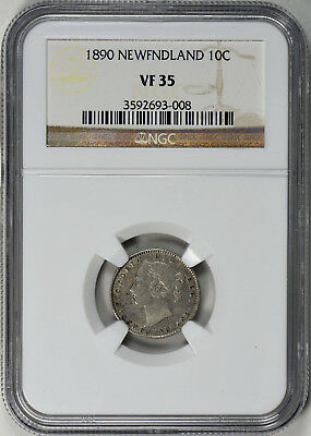 1890 Newfoundland Silver 10 Cents - Ngc Vf35 - Km3 (18-0031)