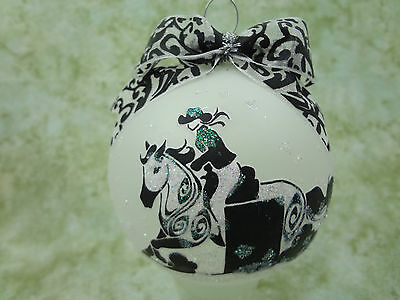 T029 Hand-made Christmas Ornament stylized HORSE tattoo - barrel racer racing
