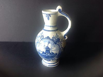 Deft Windmill Blue and White Handpainted Pitcher Bud Vase Holland
