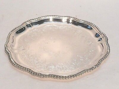 """Silver Plated 12"""" Webster Wilcox InternationalSilver 4470C Etched Serving Tray"""