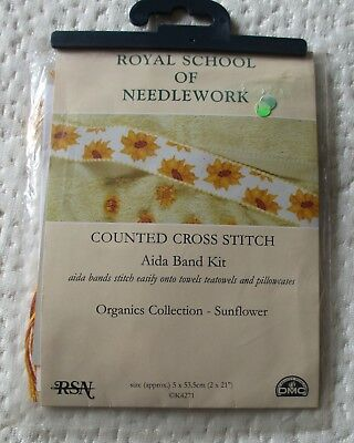 Sunflowers DMC Aida Band Cross Stitch Kit - Towels, Linen