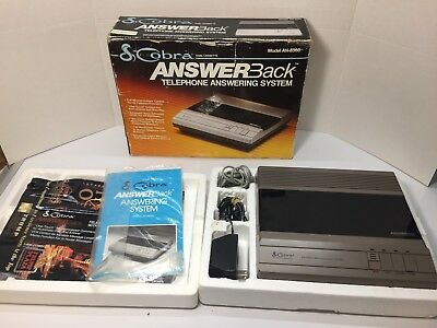 Cobra AN-8300 Answer Back Telephone Answering Machine Dual Cassette Vintage 1985