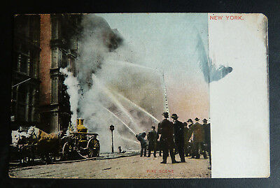 Vintage Postcard- Fire Scene- Horse Drawn Fire Engine- New York- Posted 1908