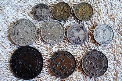 10 Different Older Hong Kong Coins 1876-1951 some Silver