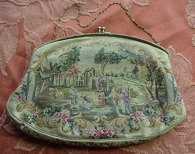 Antique Needlework Embroidered Purse Bag Embroidery Tapestry Needlepoint
