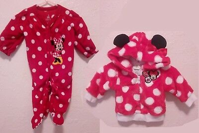Disney Baby Girls 3 months Minnie Mouse Pajama Hoodie 2 piece lot long  sleeve ee225d3be
