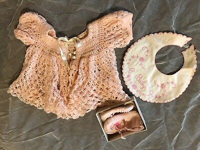 Vintage Baby Girl Crochet Sweater Bib Booties