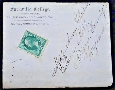 FARMVILLE COLLEGE - Prince Edward County, VA - 1870s postal history Massies Mill
