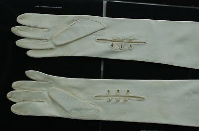 Vintage Pearl White Long Leather Opera Gloves Event Cocktail Party Italy Metis G