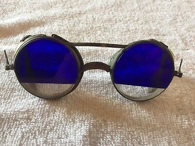 Amazing Antique Welding / Motorcycle Glasses Blue & Clear Lens Steampunk Vintage