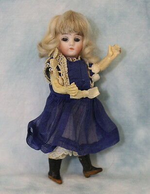 """Antique 5.25"""" German Bisque Doll Swivel Head Marked """"13"""" c.1900 Closed Mouth"""
