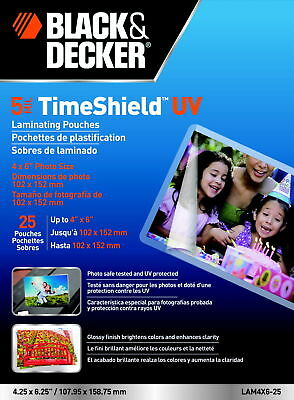Black & Decker TimeShield Laminating Pouch, 4 x 6 Inches, 5 mil, Pack of 25