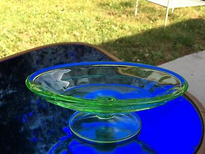 "Tea Room Green Footed Banana Split Bowl Indiana Depression Glass 7.5"" 1926-1931"