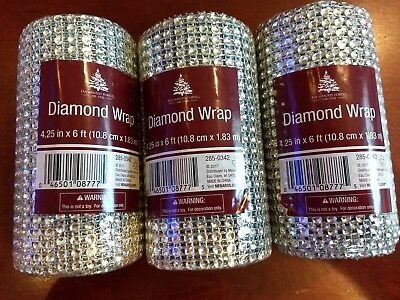 "Lot of 3 Rolls Ribbon Diamond Wrap 4.25""x6ft each sealed wedding decor"