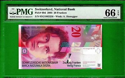 Switzerland - 2005 National Bank 20 Franken P69d Banknote PMG66 Gem UNC EPQ