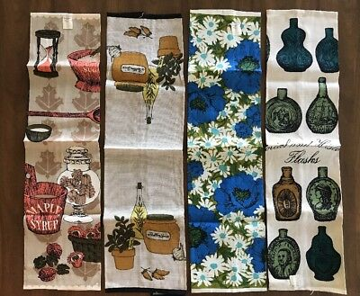 Lot Of 4 Vintage Mid Century Dish Tea Towel Lot NWT NOS Luther Travis Lois Long