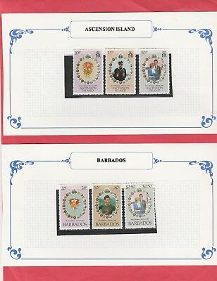 1981Royal Wedding Prince of Wales & Lady Diana.6 MUH.Stamps,Ascension & Barbados