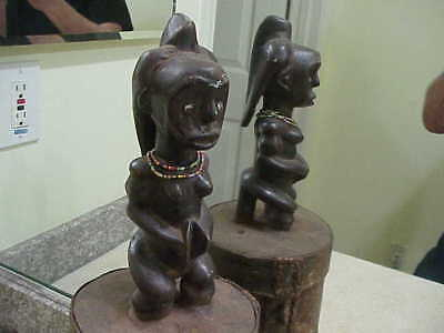 "#82 Antique African Figure Wood Statue 19"" Fang Figural Bark Wood Box"