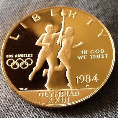 1984-W Olympic Ten Dollar $10 Commemorative Gold Coin Proof