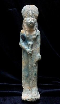 ANCIENT EGYPTIAN FAIENCE USHABTI Statue Shabti Sakhmet Goddess 1250-1500 BC