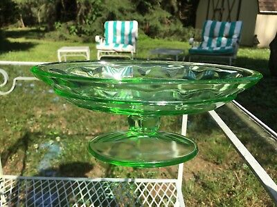 "Tea Room Green Footed Banana Split Bowl 7.5"" Indiana Depression Glass Art Deco"