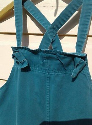 Reminiscence by Stewart Richer NY 80s Vintage Tie Bib Overalls Teal Blue RARE