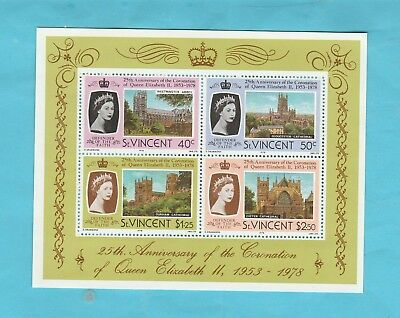 25th. Anniv.of the Coronation of Q.E.11. 1953-1978 M/S from St. Vincent.4 Stamps