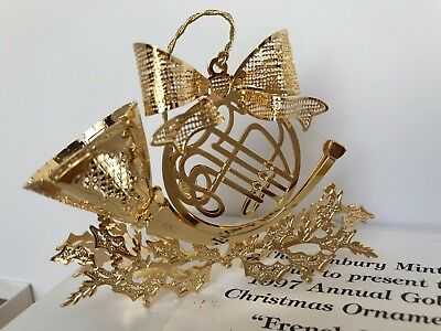 Danbury Mint Annual 1997 FRENCH HORN Gold Plated Christmas Ornament