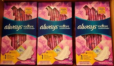 Always Radiant Pads Size 1 Regular Absorbency Light Clean Scent - 3 packs - H14