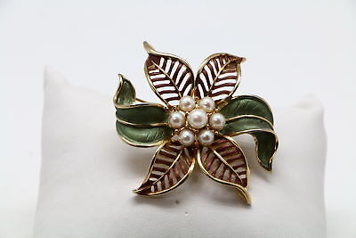 Goldtone Chunky Green Enamel White Faux Pearl Floral Brooch Pin