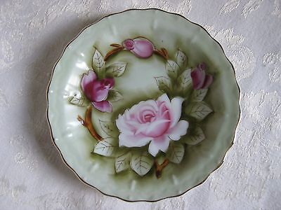 Vintage Lefton China Hand Painted Plate Green Pink Roses Gold Edge #512 USA